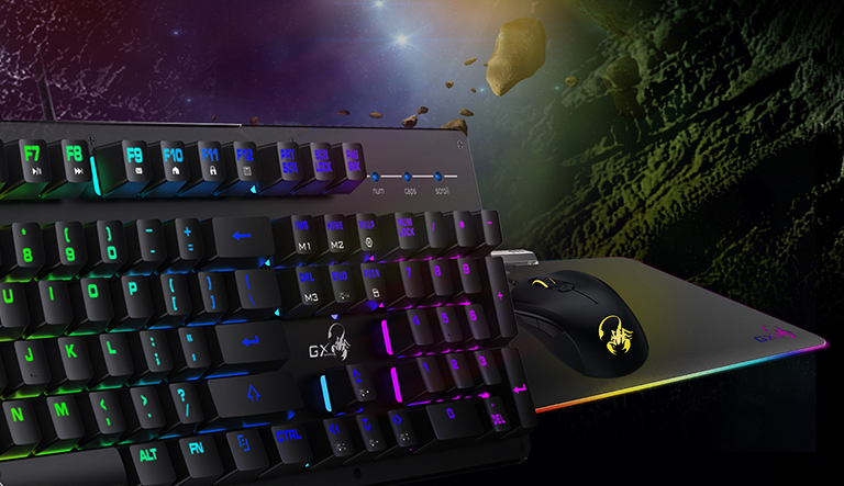 Teclado Gaming Genius con retroiluminación RGB y teclas con